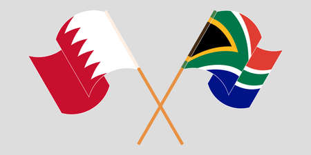 Crossed and waving flags of Bahrain and South Africa. Vector illustration