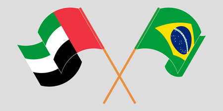 Crossed and waving flags of Brazil and the United Arab Emirates. Vector illustration 일러스트