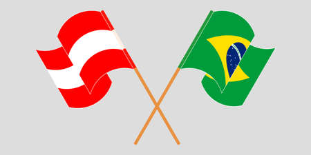 Crossed and waving flags of Brazil and Austria. Vector illustration