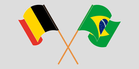 Crossed and waving flags of Brazil and Belgium. Vector illustration Illustration