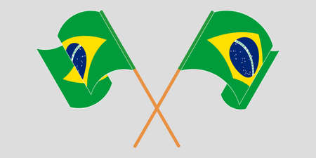 Crossed and waving flags of Brazil. Vector illustration