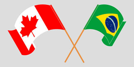 Crossed and waving flags of Brazil and Canada. Vector illustration