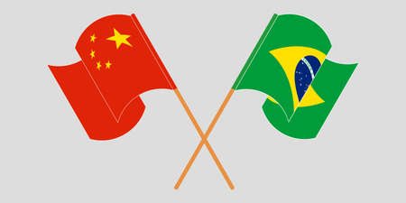 Crossed and waving flags of Brazil and China. Vector illustration