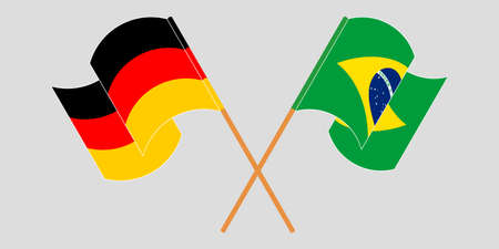 Crossed and waving flags of Brazil and Germany. Vector illustration