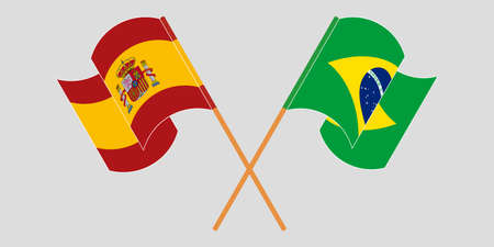 Crossed and waving flags of Brazil and Spain. Vector illustration