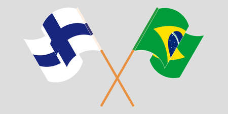 Crossed and waving flags of Brazil and Finland. Vector illustration