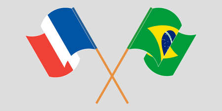 Crossed and waving flags of Brazil and France. Vector illustration