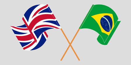 Crossed and waving flags of Brazil and the UK. Vector illustration