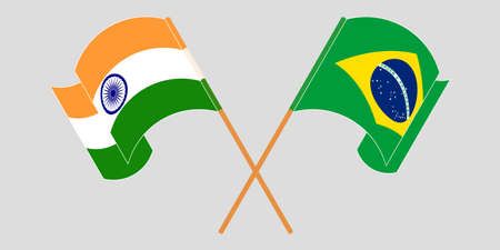 Crossed and waving flags of Brazil and India. Vector illustration