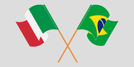 Crossed and waving flags of Brazil and Italy. Vector illustration 일러스트