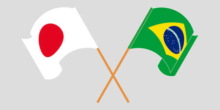 Crossed and waving flags of Brazil and Japan. Vector illustration