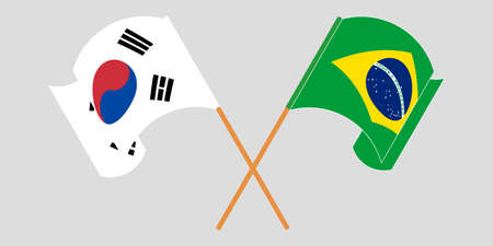 Crossed and waving flags of Brazil and South Korea. Vector illustration