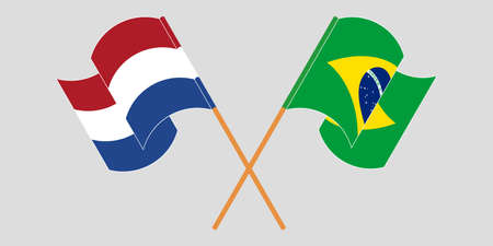Crossed and waving flags of Brazil and Netherlands. Vector illustration