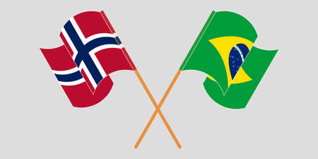 Crossed and waving flags of Brazil and Norway. Vector illustration