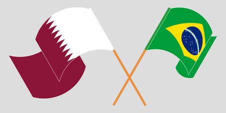 Crossed and waving flags of Brazil and Qatar. Vector illustration