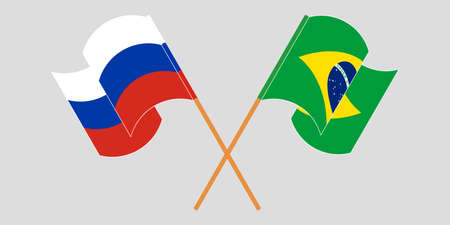 Crossed and waving flags of Brazil and Russia. Vector illustration