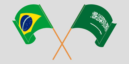 Crossed and waving flags of Brazil and the Kingdom of Saudi Arabia. Vector illustration 일러스트