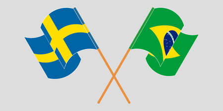 Crossed and waving flags of Brazil and Sweden. Vector illustration