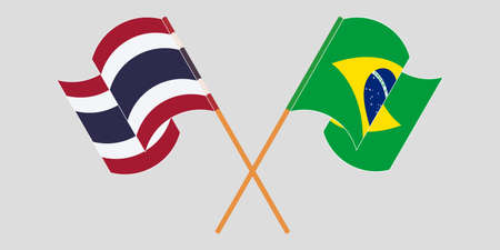 Crossed and waving flags of Brazil and Thailand. Vector illustration Illustration