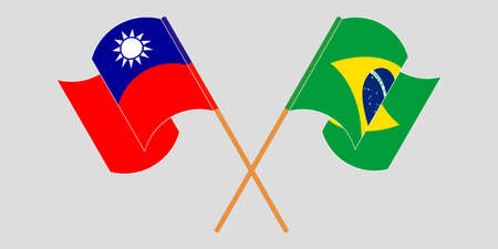 Crossed and waving flags of Brazil and Taiwan. Vector illustration