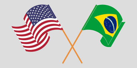 Crossed and waving flags of Brazil and the USA. Vector illustration 일러스트