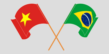 Crossed and waving flags of Brazil and Vietnam. Vector illustration