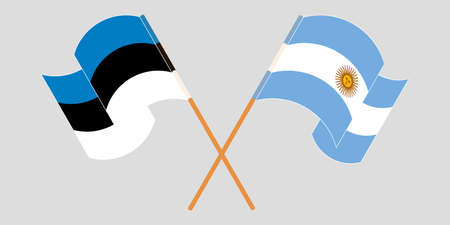 Crossed and waving flags of Estonia and Argentina. Vector illustration