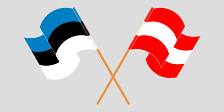 Crossed and waving flags of Estonia and Austria. Vector illustration