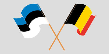 Crossed and waving flags of Estonia and Belgium. Vector illustration