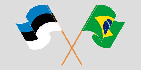 Crossed and waving flags of Estonia and Brazil. Vector illustration Illustration