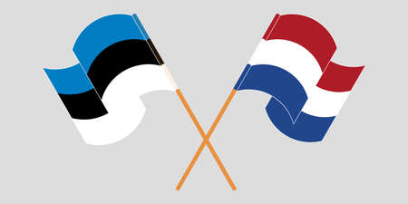 Crossed and waving flags of Estonia and the Netherlands. Vector illustration 일러스트