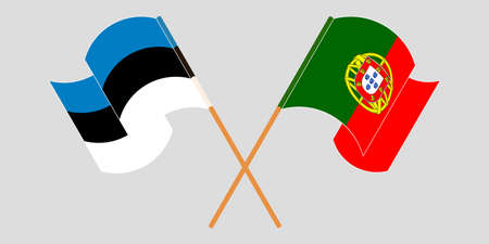 Crossed and waving flags of Estonia and Portugal. Vector illustration 免版税图像 - 155558299