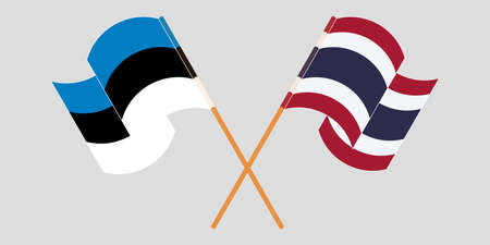 Crossed and waving flags of Estonia and Thailand. Vector illustration