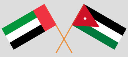 Crossed flags of Jordan and the United Arab Emirates. Official colors. Correct proportion.