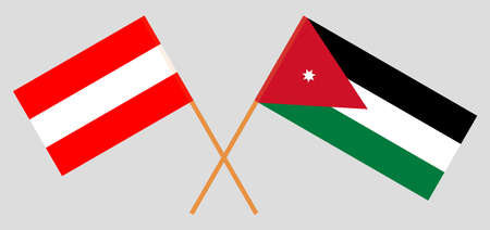 Crossed flags of Jordan and Austria. Official colors. Correct proportion.