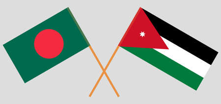 Crossed flags of Jordan and Bangladesh. Official colors. Correct proportion. Vector illustration