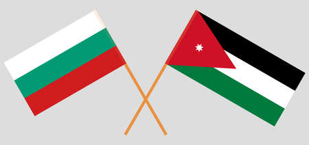 Crossed flags of Jordan and Bulgaria. Official colors. Correct proportion.