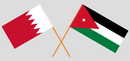 Crossed flags of Jordan and Bahrain. Official colors. Correct proportion.