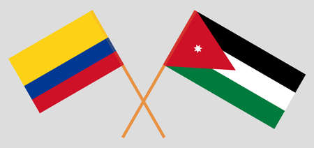 Crossed flags of Jordan and Colombia. Official colors. Correct proportion illustration