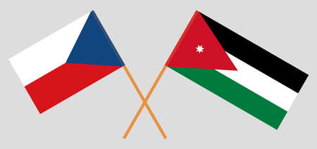 Crossed flags of Jordan and Czech Republic. Official colors. Correct proportion illustration