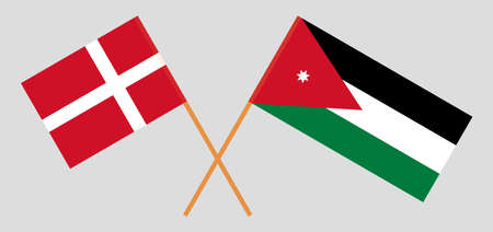 Crossed flags of Jordan and Denmark. Official colors. Correct proportion. Vector illustration Çizim