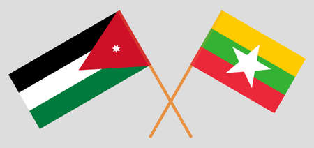 Crossed flags of Jordan and Myanmar. Official colors. Correct proportion. Vector illustration  イラスト・ベクター素材