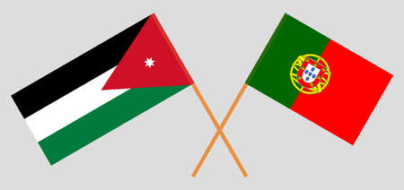 Crossed flags of Jordan and Portugal. Official colors. Correct proportion. Vector illustration 矢量图像
