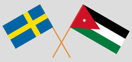 Crossed flags of Jordan and Sweden. Official colors. Correct proportion. Vector illustration