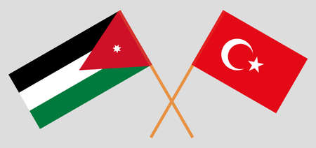 Crossed flags of Jordan and Turkey. Official colors. Correct proportion. Vector illustration Illustration