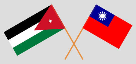 Crossed flags of Jordan and Taiwan. Official colors. Correct proportion. Vector illustration