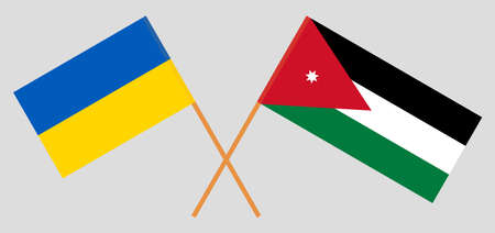 Crossed flags of Jordan and the Ukraine. Official colors. Correct proportion. Vector illustration
