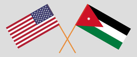 Crossed flags of Jordan and the USA. Official colors. Correct proportion. Vector illustration