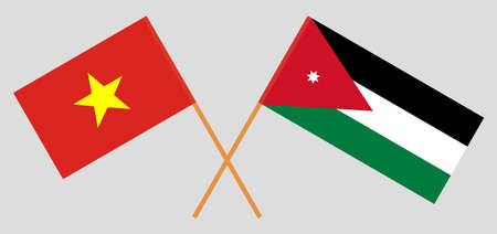 Crossed flags of Jordan and Vietnam. Official colors. Correct proportion. Vector illustration