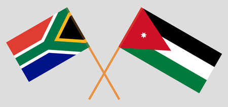 Crossed flags of Jordan and the RSA. Official colors. Correct proportion. Vector illustration